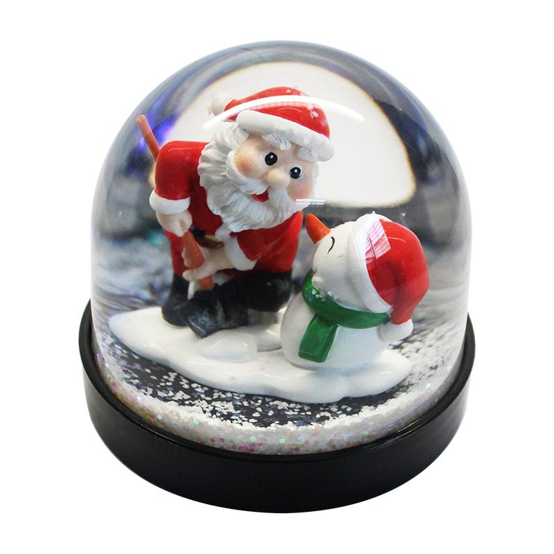 wholesale cheap hot selling Santa Claus and Snowman black base plastic snow globe