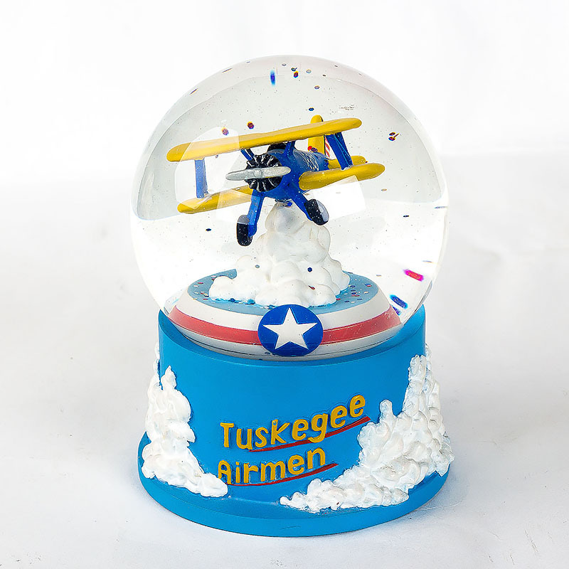Custom made antique aircraft vintage aeroplane snow globe handmade souvenir