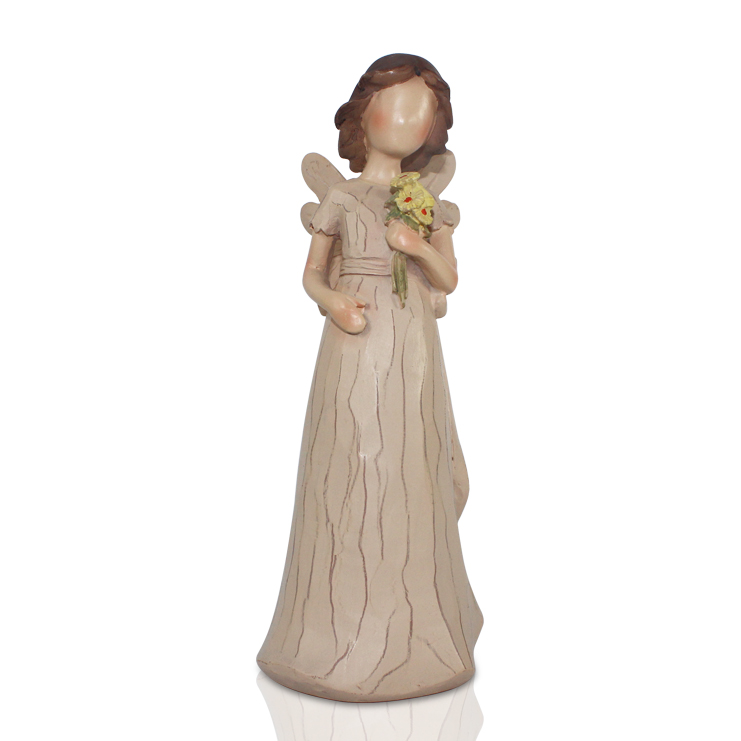 manufacturer polyresin wooden angel with flower figrine