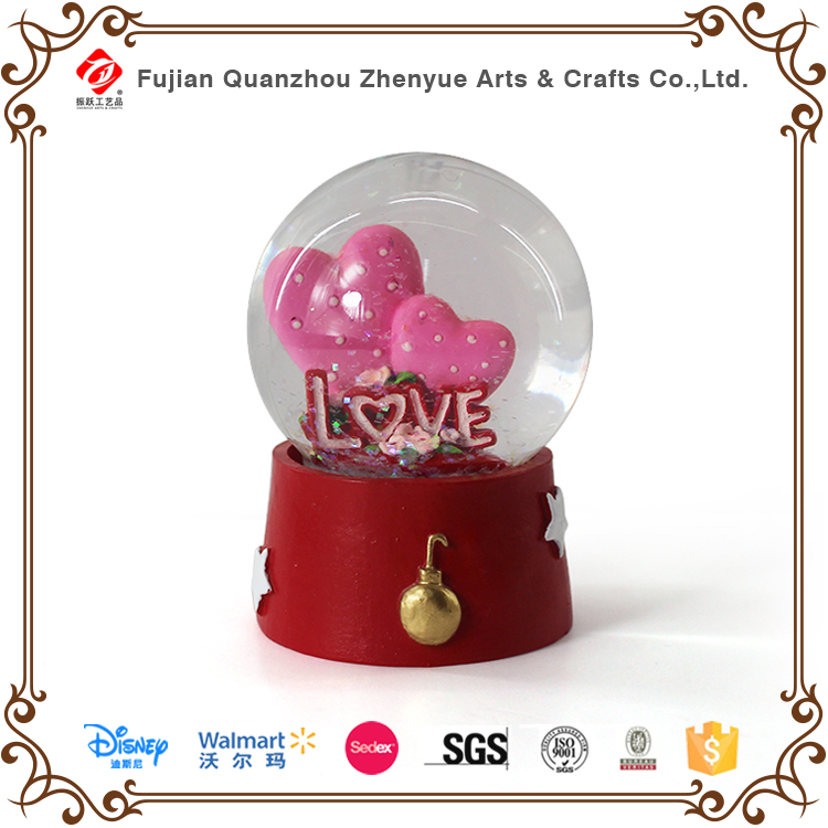Custom high quality resin love Mermaid glass snow globe for sale Custom high quality resin love M