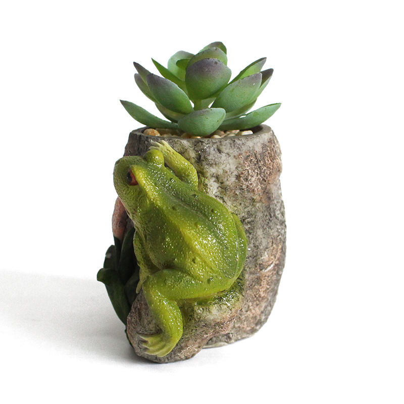 Indoor balcony decoration cute small size lovely gift frog resin flowerpot