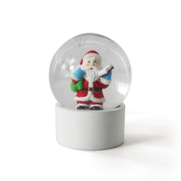 Stable christmas santa plastic snow globe