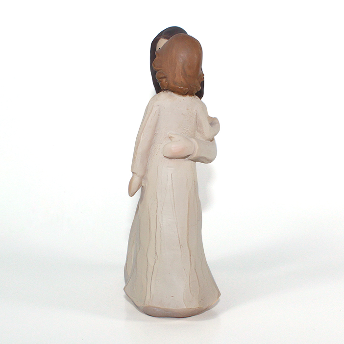 factory mother and child resin wood sculpture