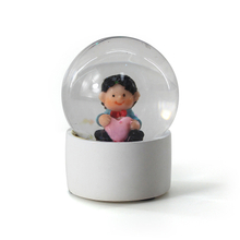 Custom Design Mini White Plastic Baby Snow Globe For Decoration