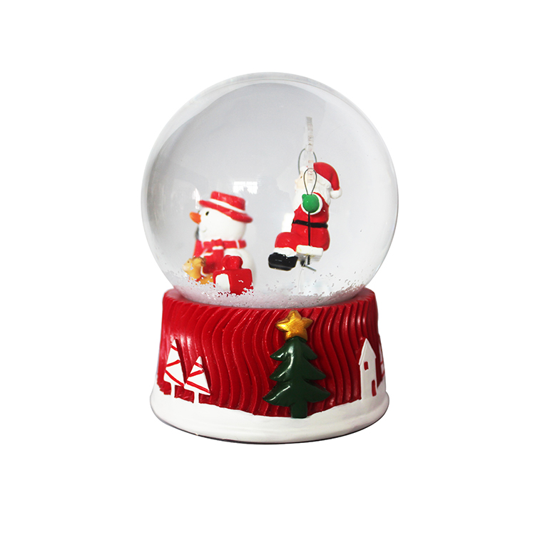 Christmas decoration gifts resin custom western style shining snow globe with light