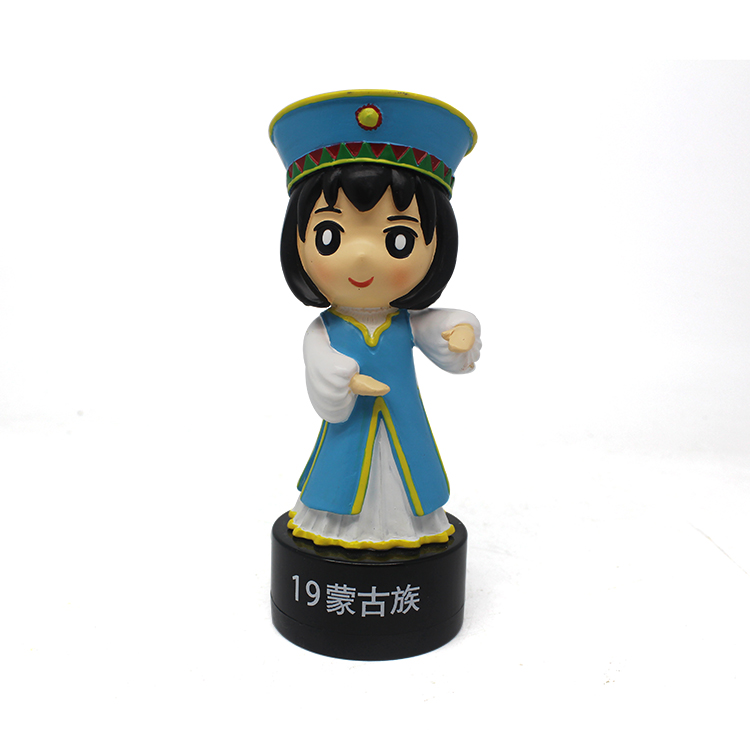 Wholesale Resin Unique Souvenir Gift Mongolian Ethnic Girls Statue for Tourist