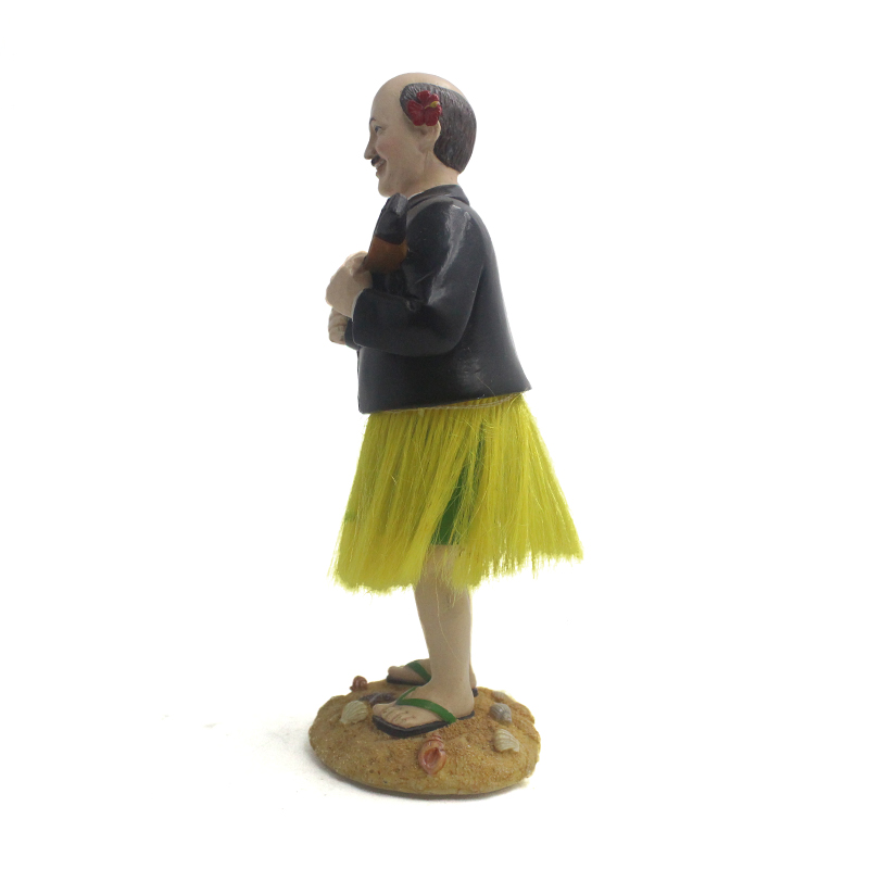 Resin custom music grass skirt man shake head gift beach male bobble head