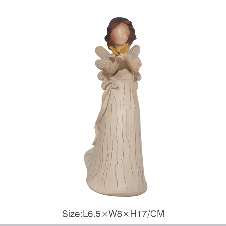 factory customized polyresin wooden angel figrines